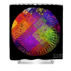 Rainbow Infusion Baseball Square Shower Curtain by Andee Design