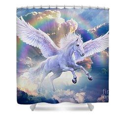 Rainbow Pegasus Shower Curtain by Jan Patrik Krasny