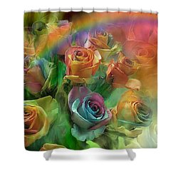 Rainbow Roses Shower Curtain by Carol Cavalaris