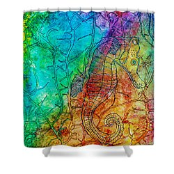 Rainbow Seahorse Shower Curtain by Janet Immordino