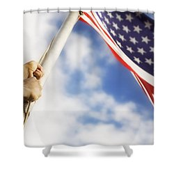 Raising An American Flag Shower Curtain by Chris and Kate Knorr