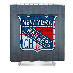 Rangers Original Six Hockey Team Retro Logo Vintage Recycled New York License Plate Art Shower Curtain by Design Turnpike