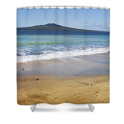 Rangitoto Shower Curtain by Les Cunliffe