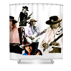 Rave On  Stevie Ray Vaughan Shower Curtain by Iconic Images Art Gallery David Pucciarelli
