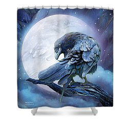 Raven Moon Shower Curtain by Carol Cavalaris