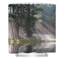 Rays Of Light Shower Curtain by Shane Bechler