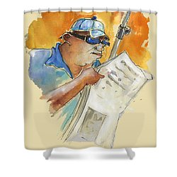 Reading The News 04 Shower Curtain by Miki De Goodaboom