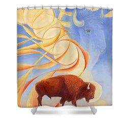 Receiving Buffalo Shower Curtain by Robin Aisha Landsong