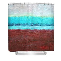 Red And Aqua Get Married Shower Curtain by Michelle Calkins