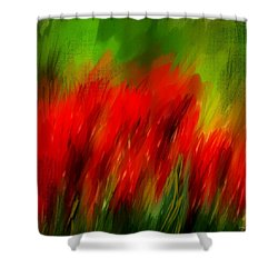Red And Green Shower Curtain by Lourry Legarde