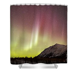 Red Aurora Borealis Over Carcross Shower Curtain by Joseph Bradley