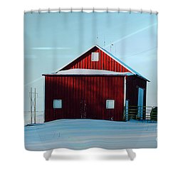 Red Barn During Illinois Winter Shower Curtain by Luther   Fine Art