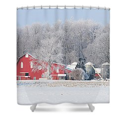 Red Barn Frosty Morning Panorama1 Shower Curtain by Jack Schultz