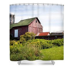 Red Barn In Groton Shower Curtain by Gary Heller
