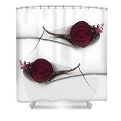 Red Beets Shower Curtain by Priska Wettstein