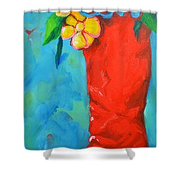 Red Boot With Flowers Shower Curtain by Patricia Awapara