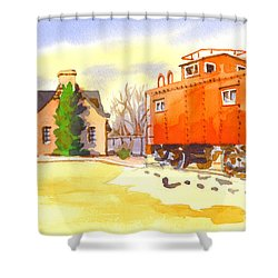 Red Caboose At Whistle Junction Ironton Missouri Shower Curtain by Kip DeVore