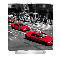 Red Cabs On Time Square Shower Curtain by Hannes Cmarits
