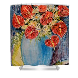Red Calla Lilies Shower Curtain by Caroline Street