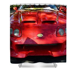 Red Car In Dappled Sunshine Shower Curtain by Susan Savad