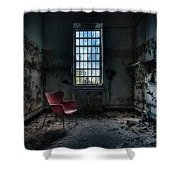 Red Chair - Art Deco Decay - Gary Heller Shower Curtain by Gary Heller