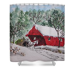 Red Covered Bridge Christmas Shower Curtain by Kathy Marrs Chandler