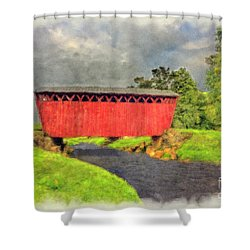 Red Covered Bridge With Car Shower Curtain by Dan Friend