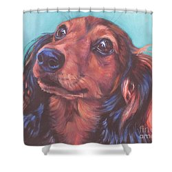 Red Doxie Shower Curtain by Lee Ann Shepard