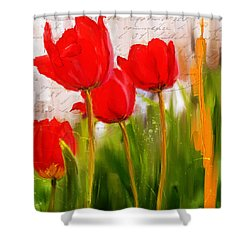 Red Enigma- Red Tulips Paintings Shower Curtain by Lourry Legarde