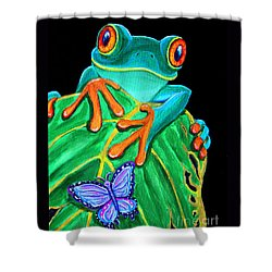 Red-eyed Tree Frog And Butterfly Shower Curtain by Nick Gustafson