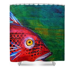 Red Fish Shower Curtain by Nancy Merkle
