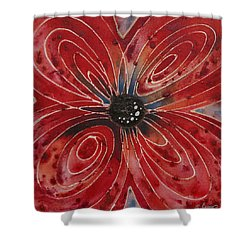 Red Flower 2 - Vibrant Red Floral Art Shower Curtain by Sharon Cummings