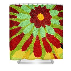 Red Flower Rug Shower Curtain by Janette Boyd