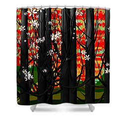 Red Forest Shower Curtain by GuoJun Pan