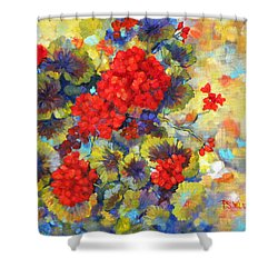 Red Geraniums II Shower Curtain by Peggy Wilson