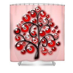 Red Glass Ornaments Shower Curtain by Anastasiya Malakhova
