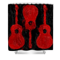 Red Guitars Shower Curtain by David G Paul