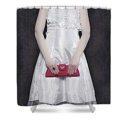 Red Handbag Shower Curtain by Joana Kruse