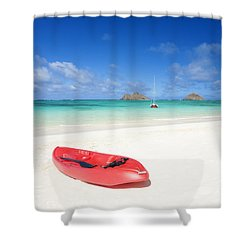 Red Kayak At Lanikai Shower Curtain by M Swiet Productions