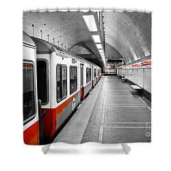 Red Line Shower Curtain by Charles Dobbs