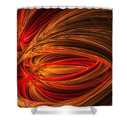 Red Luminescence-fractal Art Shower Curtain by Lourry Legarde