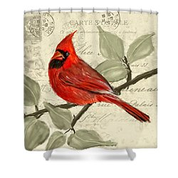 Red Melody Shower Curtain by Lourry Legarde