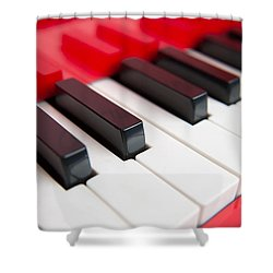 Red Piano Shower Curtain by Yew Kwang