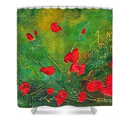 Red Poppies Shower Curtain by Teresa Wegrzyn