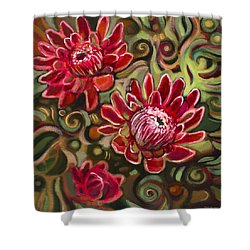 Red Proteas Shower Curtain by Jen Norton