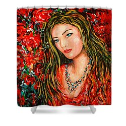 Red Roses Shower Curtain by Natalie Holland