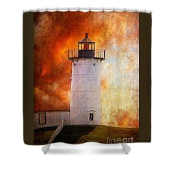 Red Sky At Morning - Nubble Lighthouse Shower Curtain by Lois Bryan