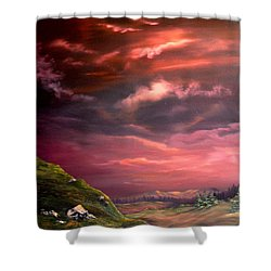 Red Sky At Night Shower Curtain by Jean Walker
