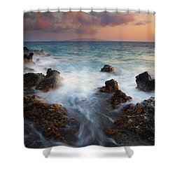 Red Sky Over Kahoolawe . .  Shower Curtain by Mike  Dawson