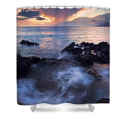 Red Sky Over Lanai Shower Curtain by Mike  Dawson